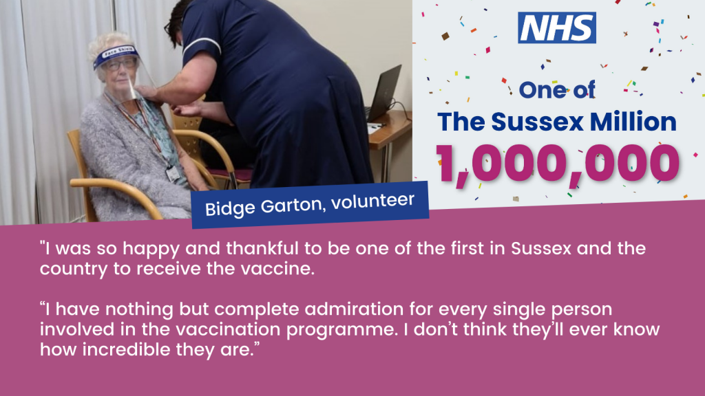 One million people in Sussex have now received their Covid-19 vaccination 1