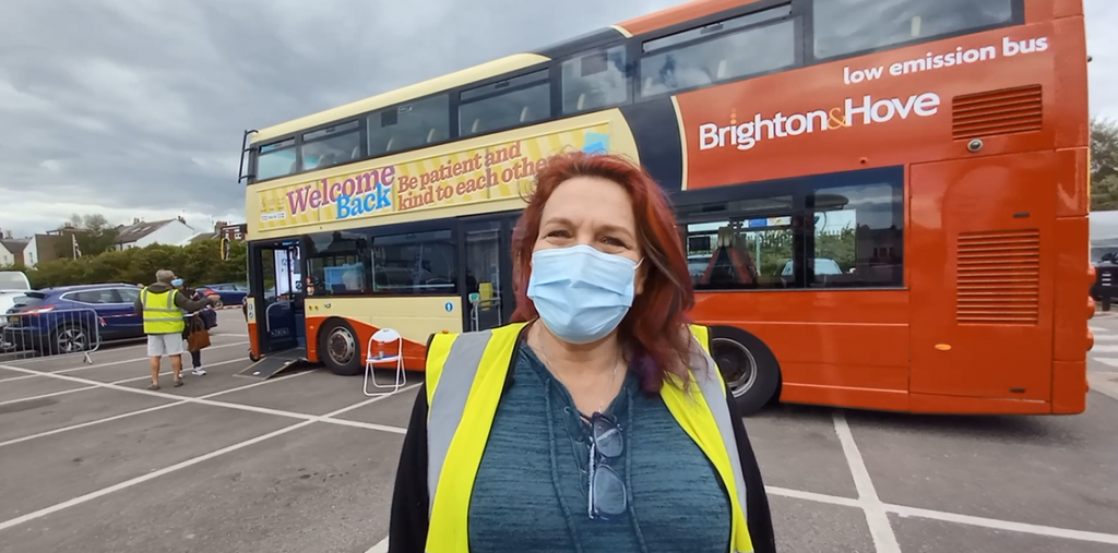 Fiona, volunteer on the mobile vaccination bus