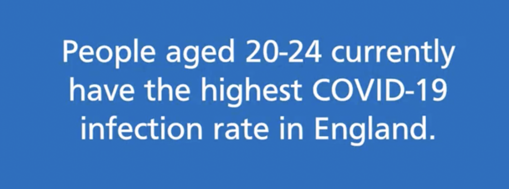 People aged 20-24 currently have the highest infection rate in England