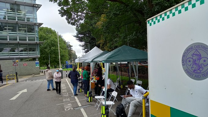 outdoor vax site at Freshers Fair