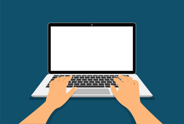 hands on laptop clipart
